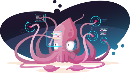 a squid interacting with a futuristic computer screen